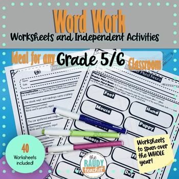 Word work homework / worksheet package