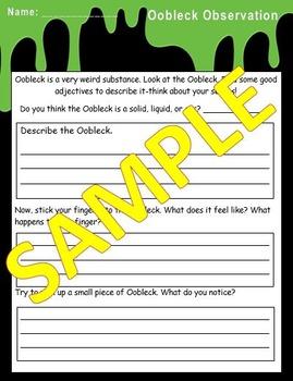 Oobleck Observation Sheet