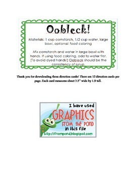 Oobleck direction cards