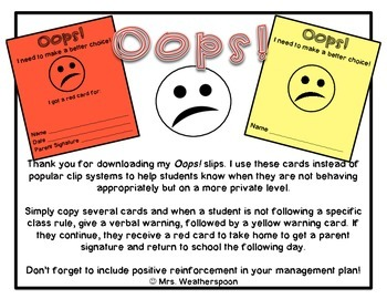 Oops! Slip Behavior Management