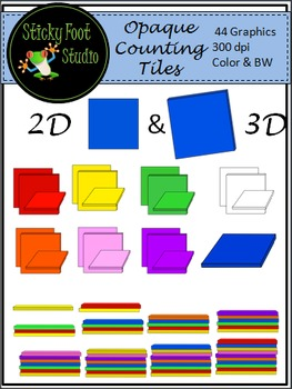 Opaque Counting Tiles Clip Art For Math - Color and BW