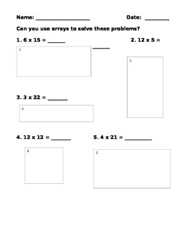 Open Arrays Multiplication Problems - 3 levels of question