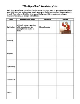 Open Boat Vocabulary Worksheet