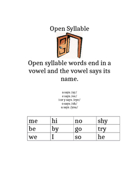 Open Close Syllable Rules for Phonics Notebook