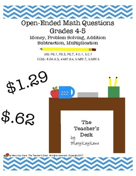 Open-Ended Math Questions Grades 4-5 Problem Solving, Mone