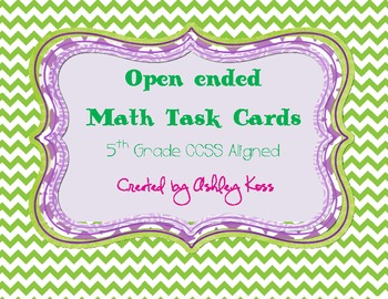 Open Ended Problem Solving Math Task Cards-5th Grade Commo