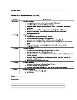 Open-Ended Response Rubric
