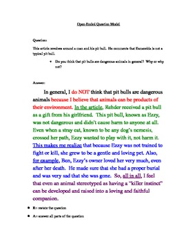 Open-Ended Response to Literature- RACER Method Model answer