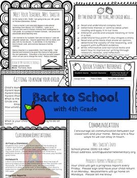 Open House/Back to School for 4th Grade Teachers (Editable)