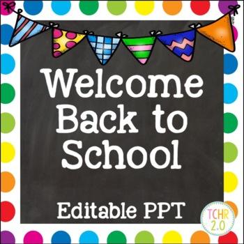 Open House Editable PowerPoint PPT Back to School Rainbow