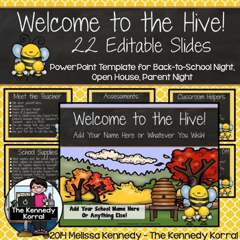 Open House or Back-to-School: Hive / Bees - Editable PowerPoint