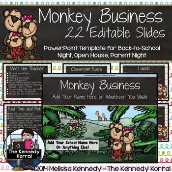 Open House or Back-to-School: Monkeys - Editable PowerPoint