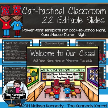 Open House or Back-to-School:   Cat-tastical - Editable Po