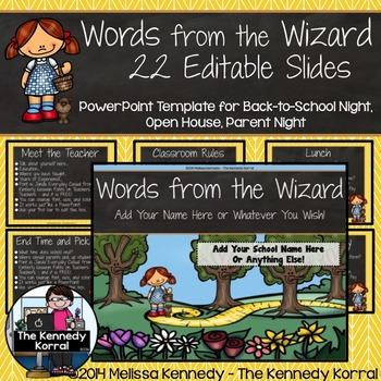 Open House or Back-to-School: Wizard of Oz - Editable PowerPoint