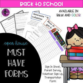 """Open House/Meet the Teacher Night """"Must Have"""" Forms"""