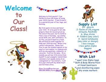 Open House Parent Brochure EDITABLE Cowboys