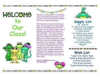 Open House Parent Brochure EDITABLE Lizards
