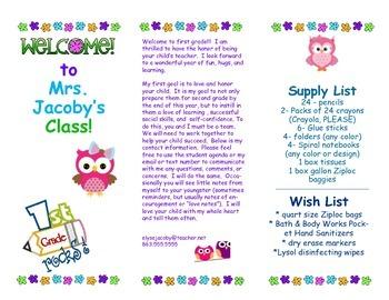 Open House Parent Brochure EDITABLE Owls