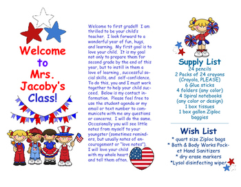 Open House Parent Brochure EDITABLE Patriotic USA American