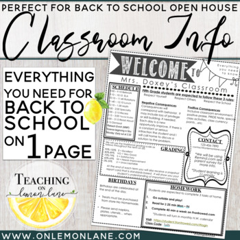 Open House Parent Classroom Information / Meet The Teacher