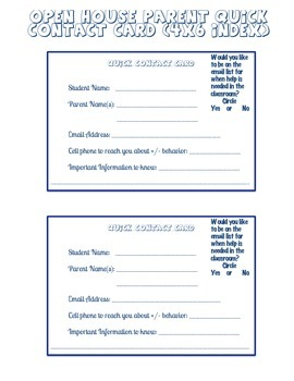Open House Parent Quick Contact 4x6 Index Cards
