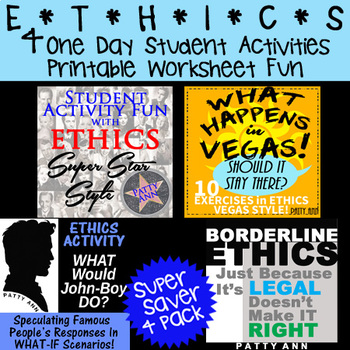 ETHICS 4-Pack > 4 One Day Student Activities in Fun Printa