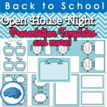 Open House PowerPoint Template, Invitations, Papers Aqua Chevron