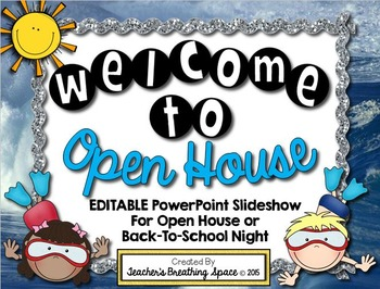 Ocean Themed Open House PowerPoint --- EDITABLE PowerPoint