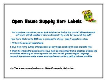 Open House School Supply Sort Labels