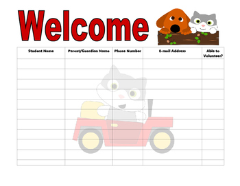 Open House Sign In Sheet cat and dog theme