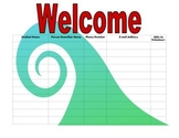 Open House Sign In Sheet red turquoise design