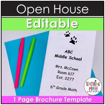 Editable Open House & Meet the Teacher Trifold Flyer