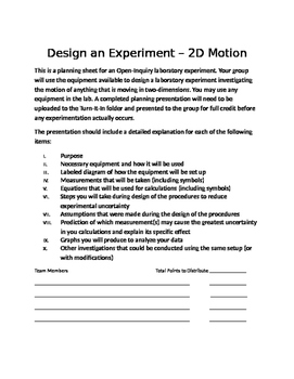 Physics Open Inquiry (Level 4) - Design an Experiment - 2D