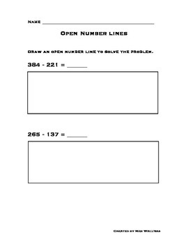 Open Number Line 3-Digit Subtraction - Common Core Alligned