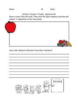 """Open Response Questions for """"Arthur's Teacher Trouble"""""""