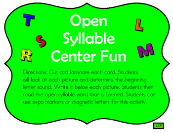 Open Syllable Center Fun