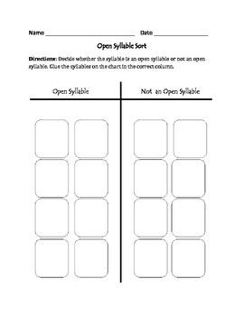 Open Syllables: Cut, Sort, & Paste Activity