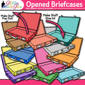 Opened Briefcases Clip Art {Vacation & Business Graphics f