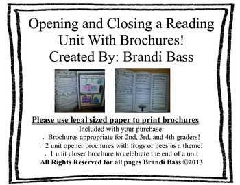 Opening And Closing A Reading Unit With Brochures!!!