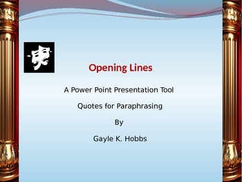 Opening Lines A Power Point Presentation Tool for Daily Qu