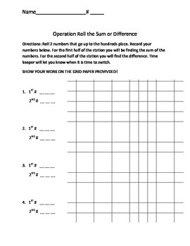 Operation Roll the Sum or Difference
