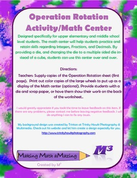 Operation Rotation - Activity/Math Center