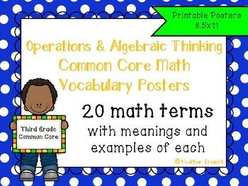 Operations and Algebraic Thinking Common Core Math Vocabul