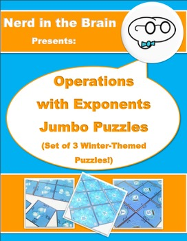 Operations with Exponents Jumbo Puzzles: Set of 3 Winter-T
