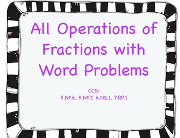 Operations with Fractions Task Cards with Word Problems