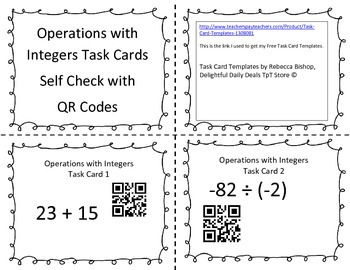 Operations with Integers Task Cards with QR Code Check 7th