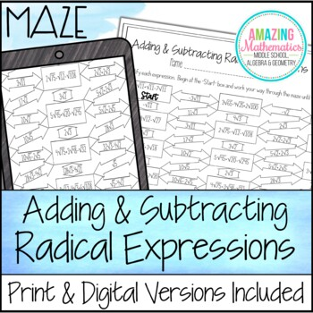 Operations with Radical Expressions Maze - Adding & Subtracting