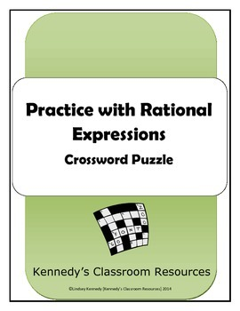 Operations with Rational Expressions - Crossword Puzzle