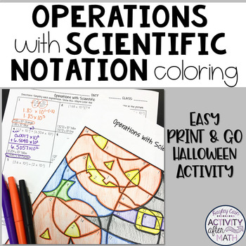 Halloween Math Operations with Scientific Notation Colorin