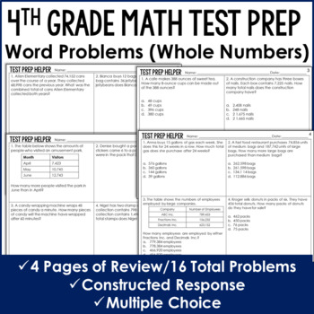 Operations with Whole Numbers Word Problems {4th Grade Com